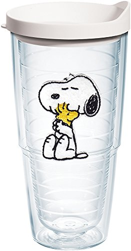 Tervis 1172912 Peanuts - Felt Snoopy & Woodstock Insulated Tumbler with Emblem and White Lid 24 oz ()