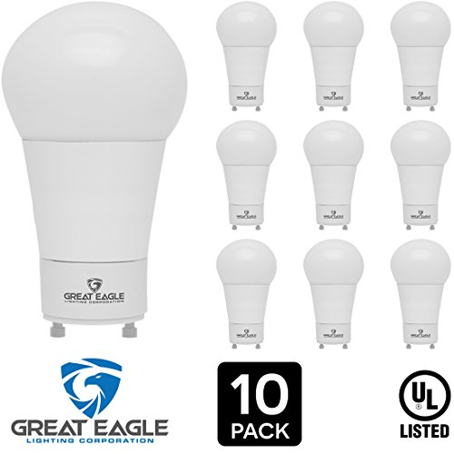Great Eagle LED A19 Light Bulb with GU24 twist-in base. 14W (100W replacement), 1550 Lumens, Dimmable, UL Listed, Bright White 3000K (10-pack)