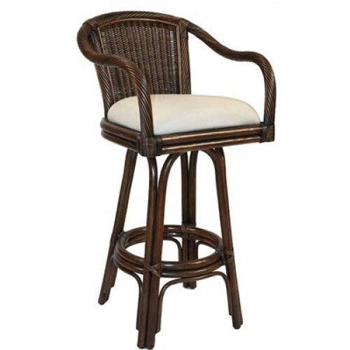Hospitality Rattan Key West Indoor Swivel Antique Finish Rattan and Wicker 30-inch Bar Stool with Cushion