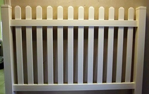 PVC 6' x 4' Vinyl Picket Fence Panel/Section with ONE post - NO GLUE - NO SCREWS