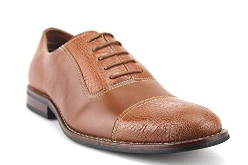 Mens 19509L Faux Gator Cap Toe Balmoral Oxfords Dress Shoes Brown ZEylriV