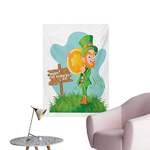 - Anzhutwelve St. Patricks Day Art Stickers Festive Leprechaun with Costume Holding Large Shamrock Gold Coin on HillMulticolor W32 xL36 Custom Poster