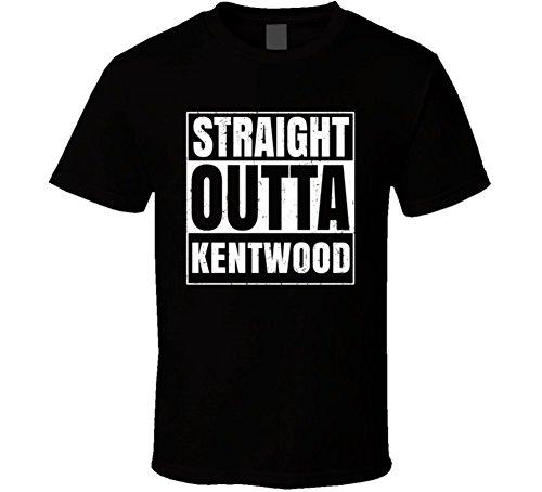 Straight Outta Kentwood Michigan City Parody Distressed T Shirt 2XL Black (City Of Kentwood Michigan)