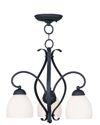 Livex Lighting 4773-04 Brookside 3-Light Convertible Hanging Lantern/Ceiling Mount, Black