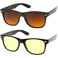 zeroUV - Blue Blocking Driving Horn Gafas de sol bordeadas con lentes ámbar 54mm (5 Negro + Negro Amarillo)