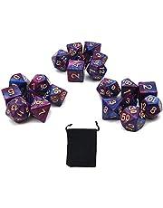 DollaTek polyedrale dobbelstenen set tafelspellen dobbelstenen 3 sets dobbelstenen 3 x 7 (21 stuks) matrijsserie D20 D12 D10 D8 D6 D4 DND dobbelstenen DND RPG MTG dubbele kleuren één stuk (paars en blauw)