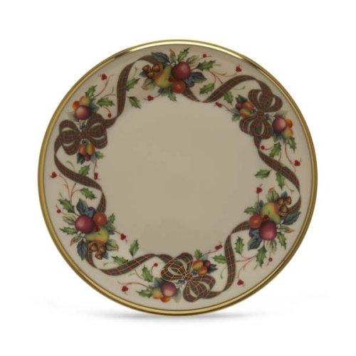 Salad China Plate Banded Ivory - Lenox Holiday Tartan Gold Banded Ivory China Salad Plate