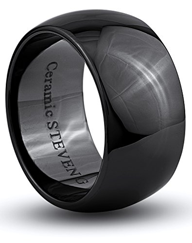 STEVEN G Black Ceramic Band Style Wedding / Fashion Ring 12mm Wide Domed High Polish Comfort Fit Unisex