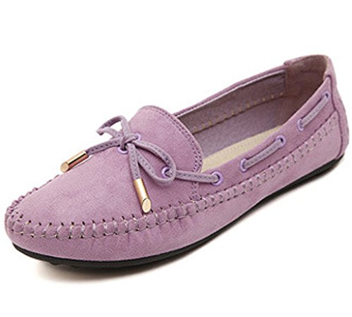 Moccasins Flat Purple Leather Womens Casual Maybest Work Comfort Loafer Shoes O8xnaAZ
