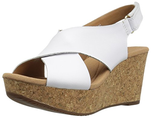 CLARKS Women's Annadel Eirwyn Wedge Sandal, White, 6.5 M - Shoes Nubuck Leather
