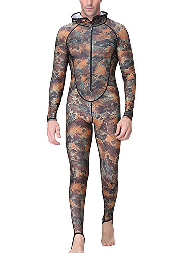 DIVE & SAIL Men One Piece Wetsuit Thermal Zipper Hooded Diving Suit Long Sleeve Snorkeling Swimming Suit Warm Thicken Anti-Plankton Stretched Diving Skin Camouflage 3XL (Hooded Lycra)