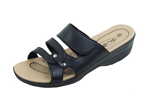 Starbay New Women Comfort Slide Wedge Sandals (6, Black)