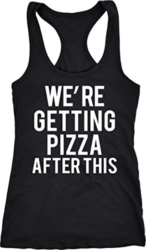 Funny Workout T-shirt (Crazy Dog T-Shirts Womens Were Getting Pizza After This Funny Workout Sleeveless Fitness Tank Top (Black) XL)