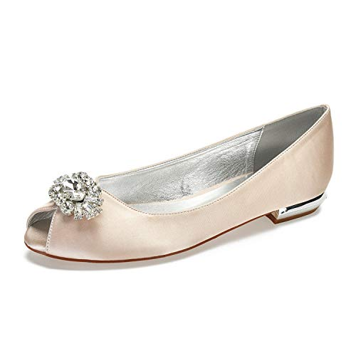Elobaby Wedding Shoes Women's Silk Like Fashion New White Satin Kitten Heel Pumps Crystal Round Toe Pumps, Champagne, ()