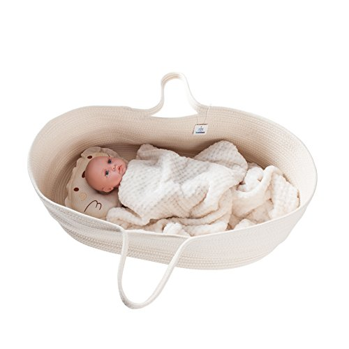 ICEBLUE HD Spacious Soft Moses Basket Cradle Bedding Set Nursery Storage Basket Toy Basket Baby Shower Gift Set ()