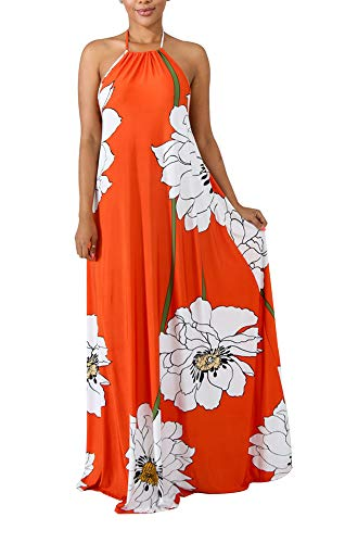 (Voghtic Sexy Maxi Dresses Floral Print Dresses Halter Backless Long Beach Dress with Scarf)