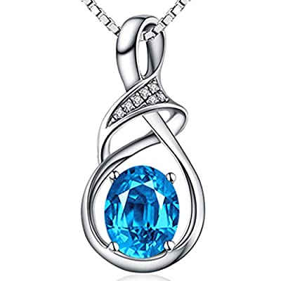 HXZZ Swiss Blue Natural Topaz/Amethyst Gemstone Sterling Silver Pendant Necklace Jewelry Gifts for Women