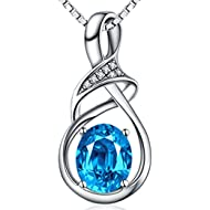 Swiss Blue Natural Topaz Gemstone Sterling Silver Pendant Necklace Fine Jewelry for Women for Her