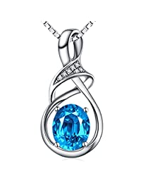 for Women♥Natural Swiss Blue Topaz Amethyst Gemstone Sterling Silver Pendant Necklace Fine Jewellery New Year Birthday Gifts for Women Her Mom