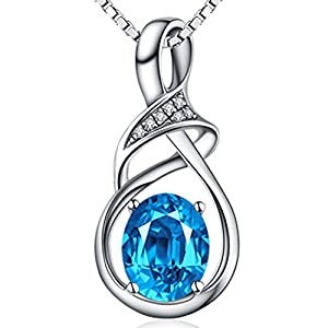 Fine Jewelry Gift for Women 925 Sterling Silver Natural Gemstone Pendant Necklace