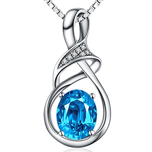 (HXZZ Fine Jewelry Gifts for Women 925 Sterling Silver Natural Gemstone Swiss Blue Topaz Pendant Necklace Oval Goddess)
