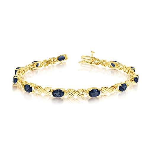 14K Yellow Gold Oval Sapphire and Diamond Bracelet (8 Inch Length) - 14k Yellow Gold Sapphire Bracelet