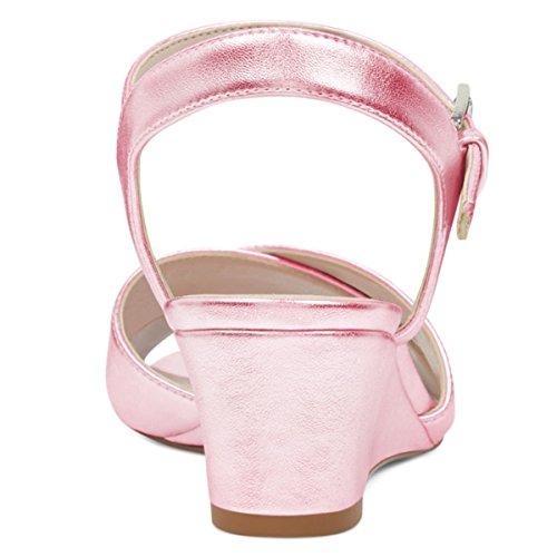Donne Ydn Punta Aperta Cinghie Sandali Del Cuneo Tallone Basso Caviglia Pompa I Pattini Con Slingback Rosa