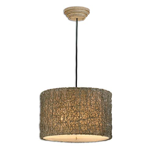 "Uttermost 21105 Knotted Rattan-Light Hanging Shade, Chai Finish, 12.3"" L, Brown"