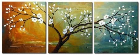 Wieco Art Full Blossom Extra Large Modern 3 Panels Gallery Wrapped Flowers Artwork 100 Hand Painted Abstract Floral Oil Paintings on Canvas Wall Art for Living Room Bathroom Home Decor XL