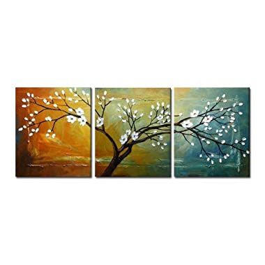 Wieco Art -  Full Blossom  Large Modern 3 Panels Stretched and Framed Flowers Artwork 100% Hand Painted Floral Oil Paintings on Canvas Wall Art Ready to Hang for Bedroom Kitchen Home Decorations L