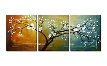 Wieco Art Floral Oil Paintings on Canvas Wall Art Ready to Hang for Bedroom  Kitchen Home Decorations Full Blossom Large Modern 3 Piece Stretched and ...