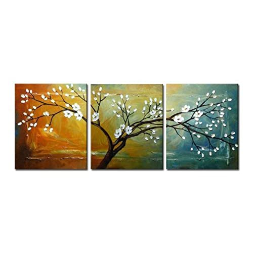 Blossom Extra Large Modern 3 Panels Gallery Wrapped Flowers Artwork 100 Hand Painted Abstract Floral Oil Paintings On Canvas Wall Art For Living Room