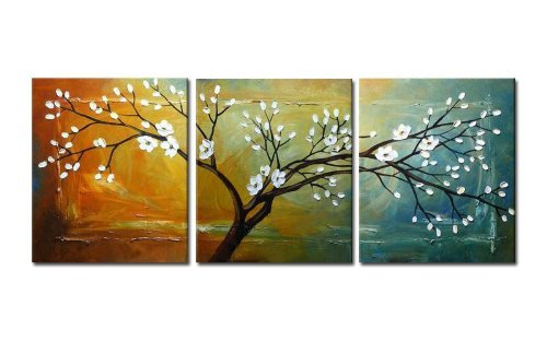 Wieco Art Floral Oil Paintings on Canvas Wall Art Ready to Hang for Bedroom Kitchen Home Decorations Full Blossom Large Modern 3 Piece Stretched and Framed 100% Hand Painted White ()