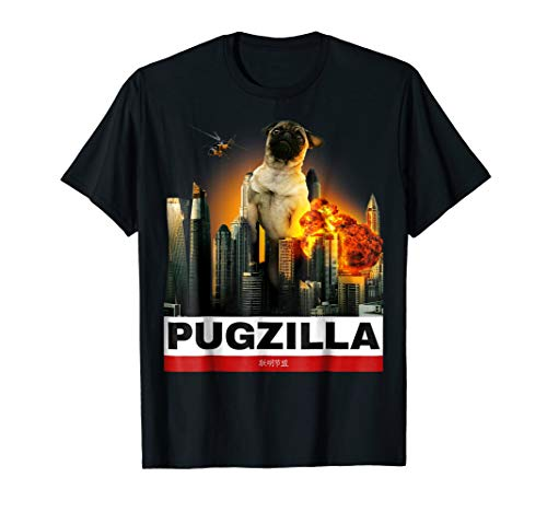 PUGZILLA - Funny Pug Tshirt for Dog lovers to Halloween