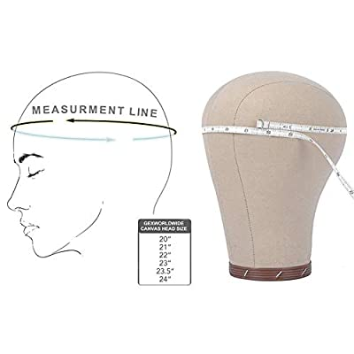 """GEX 20""""-24""""Cork Canvas Block Head Mannequin Head Wig Display Styling Head With Mount Hole"""
