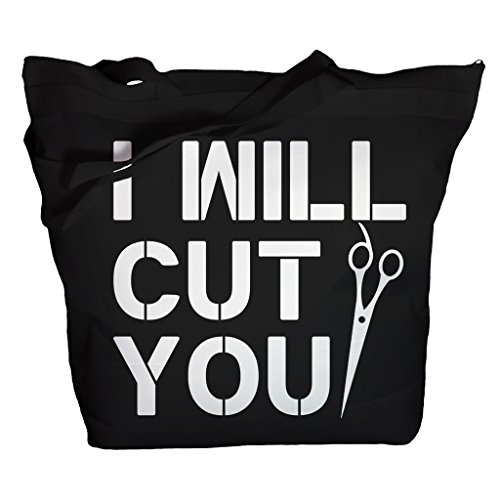 (Shirts By Sarah Tote Bag Funny Hairdresser I Will Cut You Zippered Totes (Black/White One Size))
