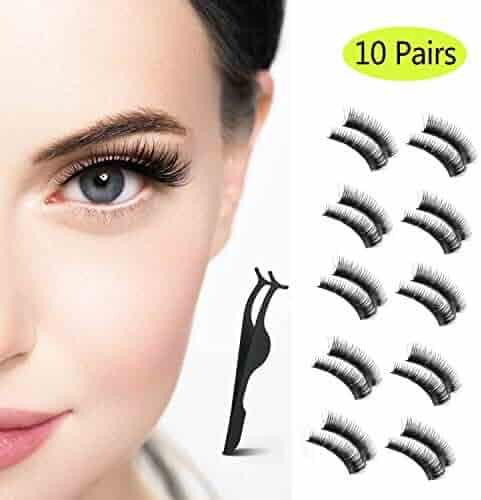 ebec5680fe7 False Eyelashes 10 Pairs 100% Handmade Reusable 3D lashes Set with Black False  Eyelash Tweezers