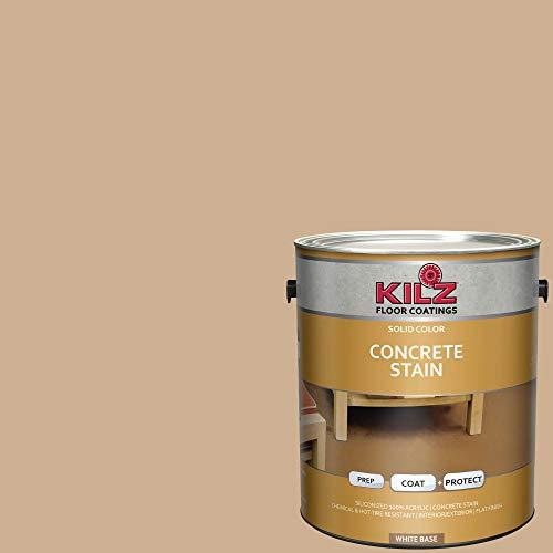 (KILZ 13513801 L397111 Interior/Exterior Solid Color Concrete Stain, 1 Gallon, Colorado Topaz/Tan)