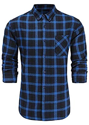 Emiqude Men's Slim Fit Flannel Cotton Long Sleeve Button-Down Plaid Dress Shirt