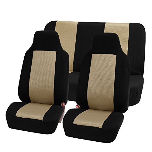 FH GROUP FH-FB102112 Classic Cloth Car Seat Covers Beige / Black color- Fit Most Car, Truck, Suv, or Van FH Group Seat Covers