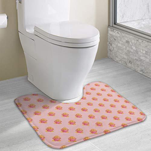 Sunrise Shells_1216 Bath Rug, Microfiber Anti-Bacterial U-Shaped Toilet Floor Rug Shower Mat Shaggy Non Slip Bathroom Carpet 19