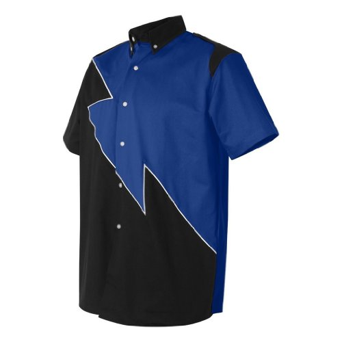 Hilton Spoiler Retro Bowling Shirt (Large, Royal Blue)