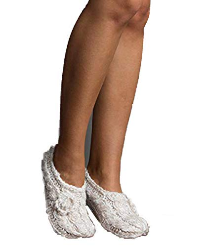 Boucle Hand Knit - Lemon Twisted Marshmallow Hand Knit Short Bootie Slipper Acrylic Blend (Chalk White)