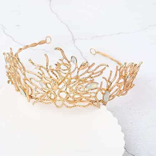 Barode Baroque Bride Wedding Crowns and Tiaras Rhinestone Flower Queen  Crowns Bridal Hair Accessories for Women 74ec95b6c9ee