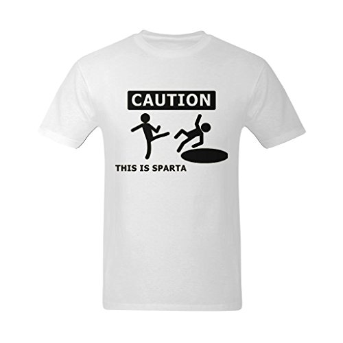 (Fashion-In Men's Caution This Is Sparta Funny Art Design T-Shirt - Fans T-shirt US Size)