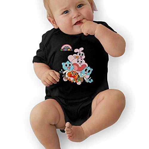 sretinez Boys & Girls The Amazing World of Gumball Romper Bodysuit Outfits Black]()
