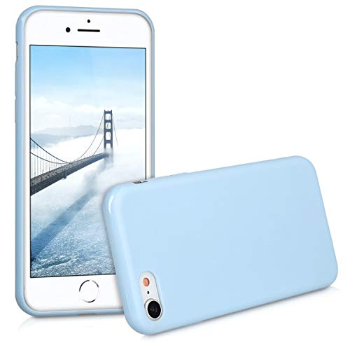 kwmobile TPU Silicone Case for Apple iPhone 7/8 - Soft Flexible Shock Absorbent Protective Phone Cover - Light Blue Matte ()