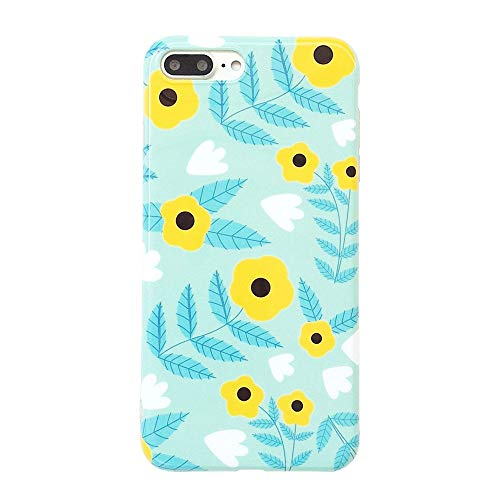 iPhone 8 Plus Case, iPhone 7 Plus Cute Case for Girls, Green Leaves & Yellow Floral Pattern Design, Slim Fit Soft TPU Full-Body Protective Cover Case for iPhone 7/8 Plus 5.5'' (Yellow Flower)