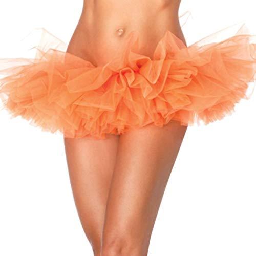Women's Tutu Tulle Mini A-Line Petticoat Prom Party Cosplay Skirt Paillette Elastic 5 Layered Short Skirts Beautyfine Orange