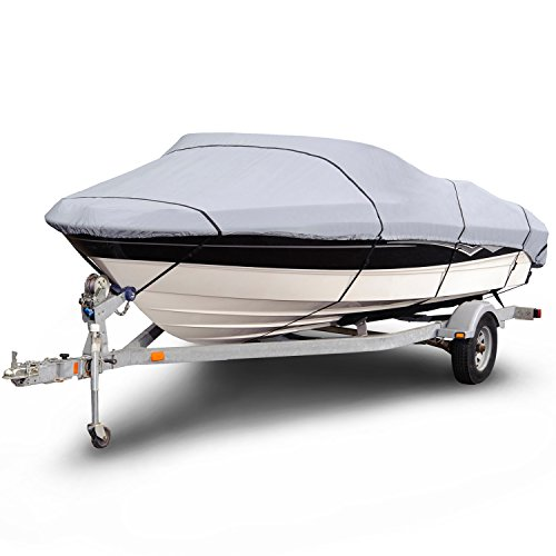 (Budge 1200 Denier Boat Cover fits V-Hull Runabout Boats B-1201-X6 (20' to 22' Long, Gray))